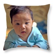 Asian Baby Throw Pillow by Atul Daimari
