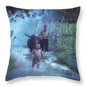 Asian Boy Playing Water With Dad And Buffalo Throw Pillow