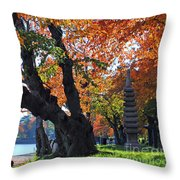 Asian Cherry Trees Of Fall Throw Pillow
