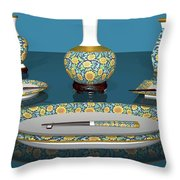 Asian Dining And Vases Throw Pillow