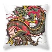 Asian Dragon Throw Pillow by Maria Arango