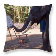 Asian Elephant Painting Picture Throw Pillow