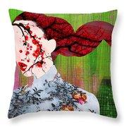 Asian Flower Woman Red Throw Pillow