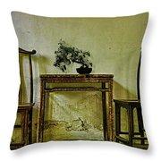 Asian Furniture And Bonsai Throw Pillow
