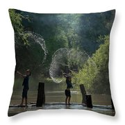 Asian Girl Playing Water In River Throw Pillow