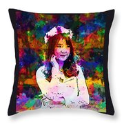 Asian Girl With Crown  Throw Pillow