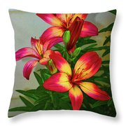 Asian Lilly Spring Time Throw Pillow