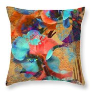 Asian Orchid Abstract Throw Pillow