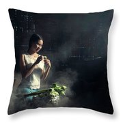 Asian People With Cooking, Living In Rural Countryside, Rural Th Throw Pillow