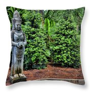 Asian Statue Jefferson Island  Throw Pillow