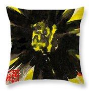 Asian Sunflower Throw Pillow