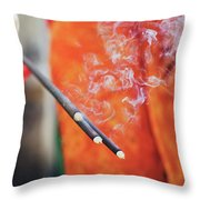 Asian Woman Holding Incense Sticks During Hindu Ceremony In Bali, Indonesia Throw Pillow