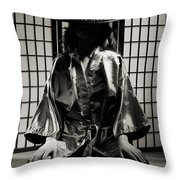 Asian Woman In Kimono Throw Pillow