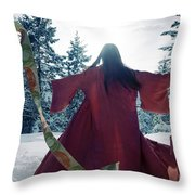 Asian Woman In Red Kimono Dancing In The Snow Spinning Around To Throw Pillow
