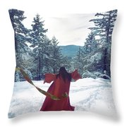 Asian Woman In Red Kimono Dancing On The Snow In The Forest Throw Pillow