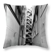 Asian Woman Sitting In Alley Throw Pillow