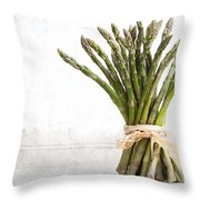 Asparagus Vintage Throw Pillow by Jane Rix