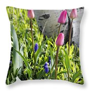 Aspen And Tulips Throw Pillow