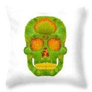 Aspen Leaf Skull 10 Throw Pillow