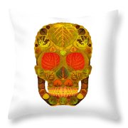 Aspen Leaf Skull 12 Throw Pillow