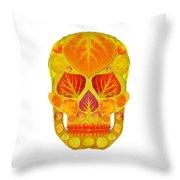 Aspen Leaf Skull 13 Throw Pillow