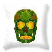 Aspen Leaf Skull 9 Throw Pillow