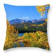Aspen On Pikes Peak And Crystal Reservoir Throw Pillow