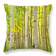 Aspen Tree Forest Autumn Time Portrait Throw Pillow