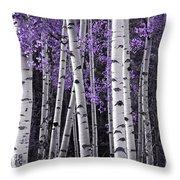 Aspen Trunks Lavender Leaves Throw Pillow