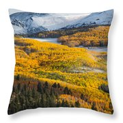 Aspens And Mountains In The Morning Light Throw Pillow