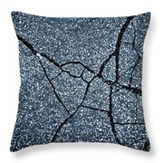 Asphalt Pavement With Cracks On The Surface Throw Pillow