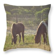Assateague Island Wild Ponies Throw Pillow