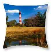 Assateague Lighthouse Reflection Throw Pillow