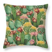 Assorted Blooming Cactus Plants Throw Pillow
