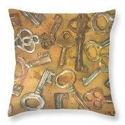 Assorted Skeleton Keys Throw Pillow