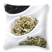 Assortment Of Dry Tea Leaves In Spoons Throw Pillow