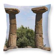 Assos Temple Of Athena Columns Throw Pillow