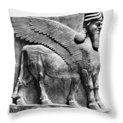 Assyria: Bull Scultpure Throw Pillow