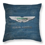 Aston Martin 3 D Badge Over Aston Martin D B 9 Blueprint Throw Pillow