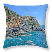Astonishing Magnificient Manarola In Cinque Terre Throw Pillow