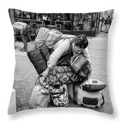 Bag Lady Throw Pillow by Eric Lake