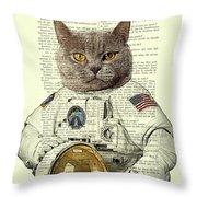 Astronaut Cat Illustration Throw Pillow