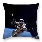 Astronaut Floats In Space Throw Pillow