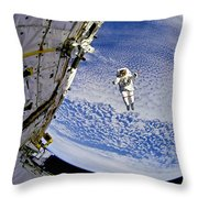 Astronaut In Atmosphere Throw Pillow by Jennifer Rondinelli Reilly - Fine Art Photography