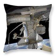 Astronaut Participates In A Spacewalk Throw Pillow