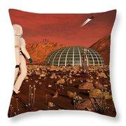 Astronaut Walking Across The Surface Throw Pillow