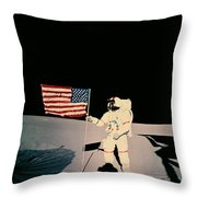 Astronaut With Us Flag On Moon Throw Pillow