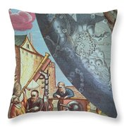Astronomers Looking Through A Telescope Throw Pillow