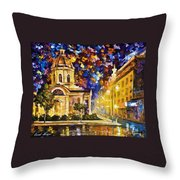 Asuncion Paraguay - Palette Knife Oil Painting On Canvas By Leonid Afremov Throw Pillow