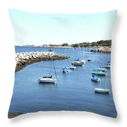 At Anchor In Rockport Ma Harbor Throw Pillow